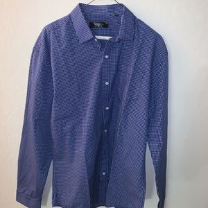 Blue & White Button Up (Slim Fit M)